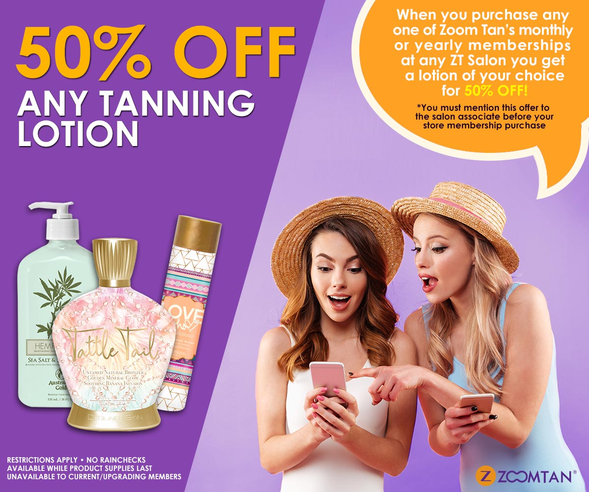 50% off lotion with membership purchase